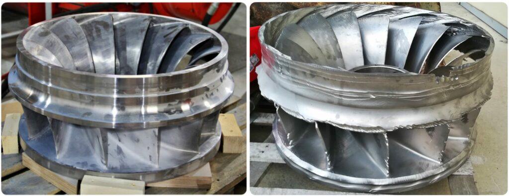 Les roues de types Francis : A gauche : une roue neuve / A droite : une roue usée (après 4 années d'utilisation) ©SOREA